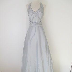 David's Bridal Silver Beaded Cinderella Dress